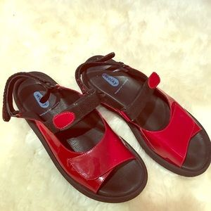 "Wolky  ""Tulip"" Red patent leather sandals"